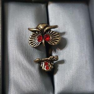 Red Gemstone Owl Fashion RIng